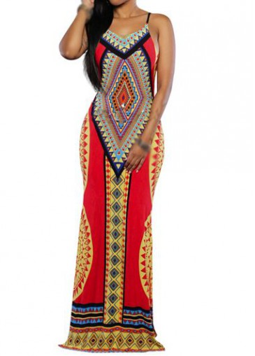 Buy online Tribal Print V Neck Spaghetti Strap Maxi Dress