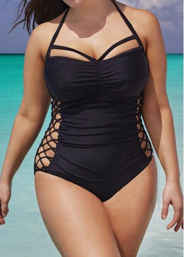 Buy online Halter Neck Black One Piece Swimwear