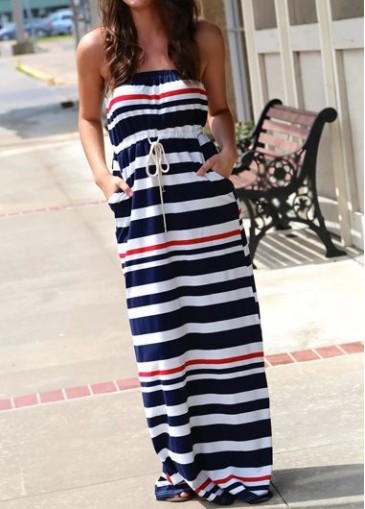 Buy online Drawstring Waist Stripe Print Maxi Dress