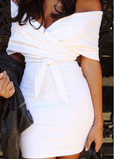 Buy online V Neck White Top and High Waist Skirt