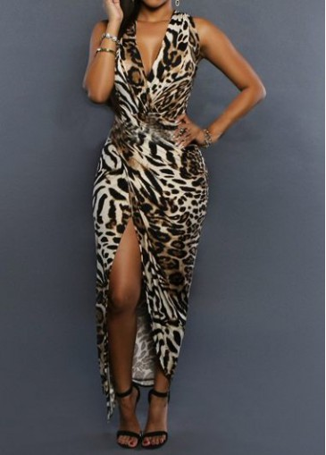 Buy online High Slit V Neck Leopard Print Dress