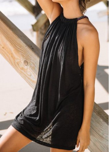 Buy online Black Sleeveless Sexy Mini Summer Dress