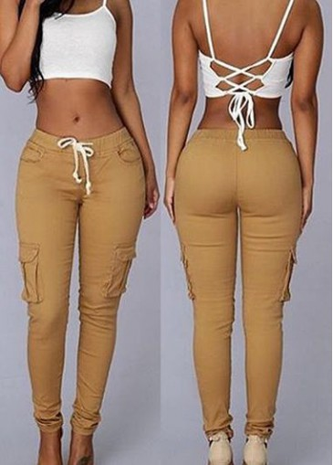 Buy online Pocket Design Ankle Length Khaki Skinny Pants