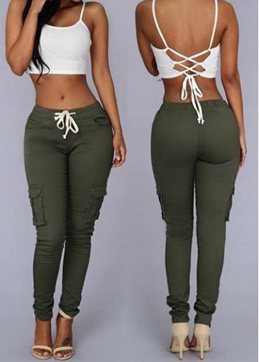 Buy online Army Green Pocket Design Mid Waist Skinny Pants