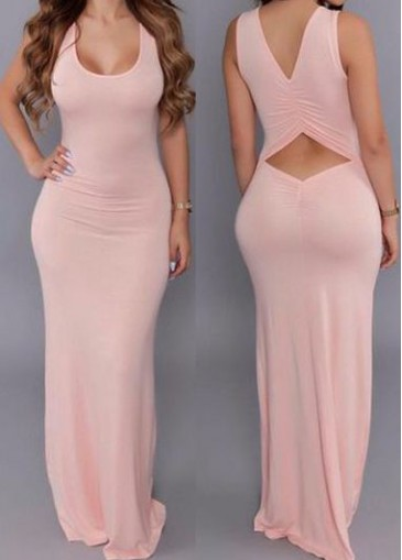 Buy online Pink Hollow Out Round neck Maxi Dress