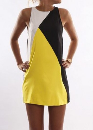 Buy online Yellow Round Neck Sleeveless Straight Dress