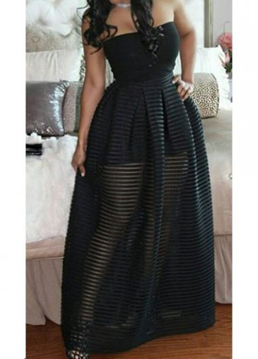 Buy online Strapless Solid Black High Waist Maxi Dress