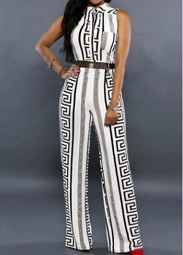 Buy online Belt Design Stand Collar White Printed Jumpsuit