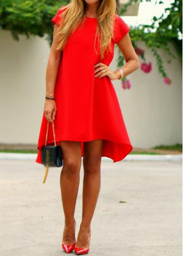 Buy online Round Neck Red High Low Dress