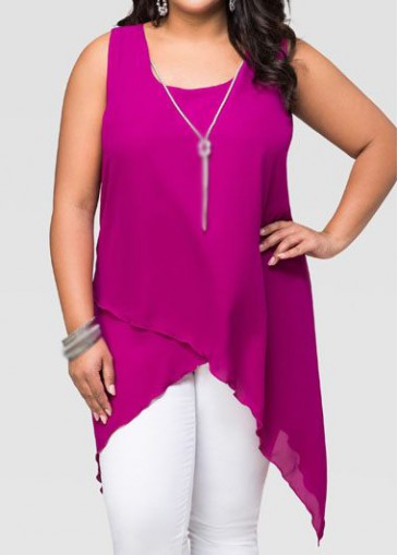 Buy online Plus Size Round Neck Sleeveless Blouse