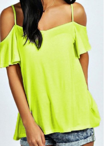 Buy online Off the Shoulder Lucifer Yellow Loose Blouse