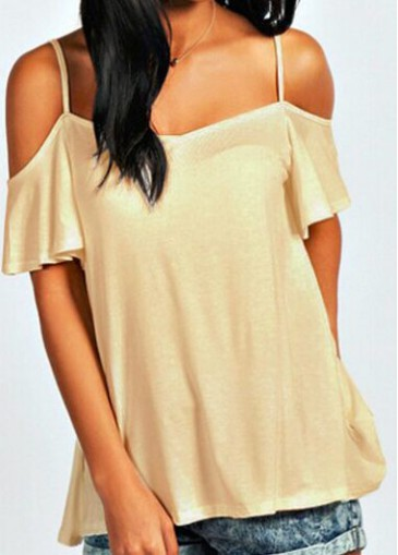 Buy online Cold Shoulder Short Sleeve Apricot Blouse