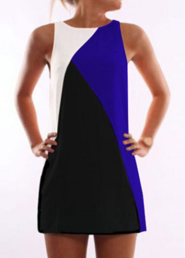 Buy online Round Neck Black and Royal Blue Dress