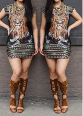 Lion Pattern Multi Color Cap Sleeve Mini Dress