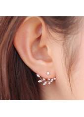Rhinestone Decorated Cutout Design Gold Earrings