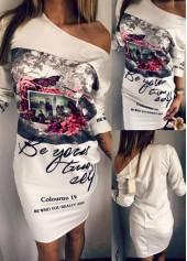Skew Neck Letter Print White Dress