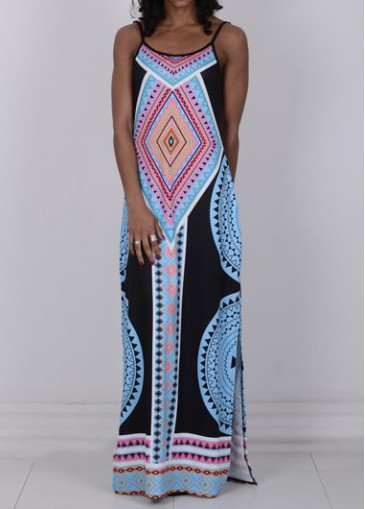 Buy online Open Back Tribal Print High Slit Dress