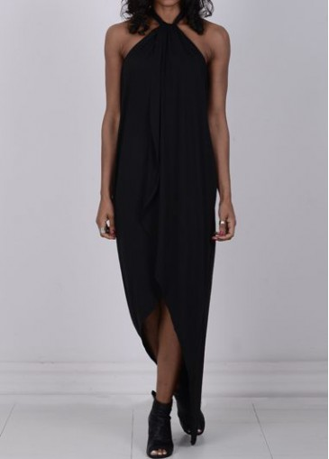 Buy online Solid Black High Low Maxi Dress