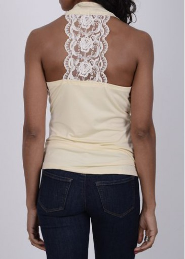 Buy online Lace Panel V Neck Sleeveless Apricot Blouse