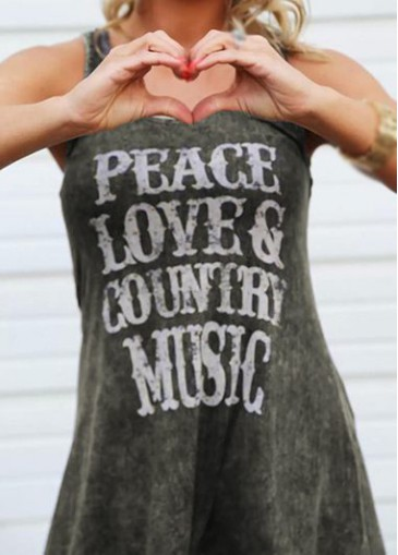 Buy online Letter Print Round Neck Dark Grey Tank Top