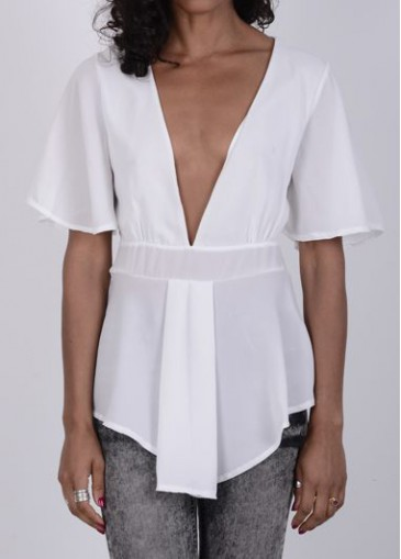 Buy online Plunging Neckline Short Sleeve White Blouse