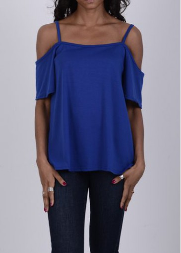 Buy online Short Sleeve Royal Blue Shift Blouse