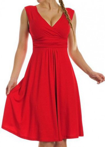 Buy online V Neck High Waist Red Dress