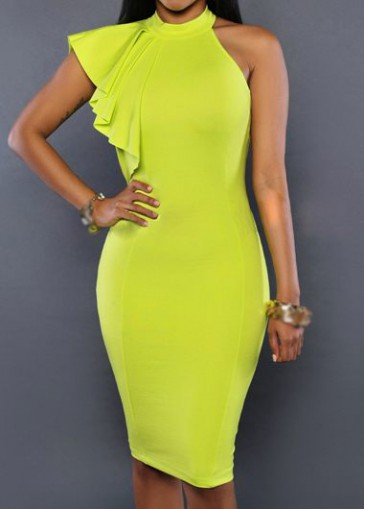Buy online High Neck Yellow Knee Length Dress
