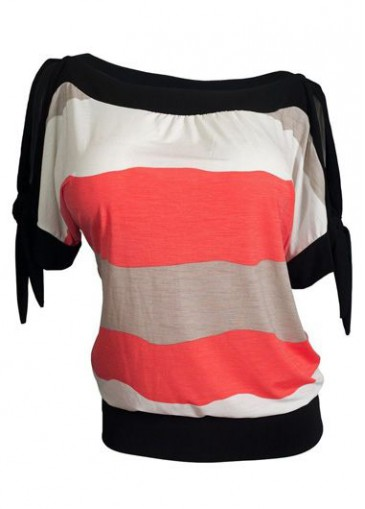 Buy online Plus Size Round Neck Striped T Shirt