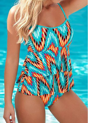 Buy online Open Back Cyan Printed One Piece Swimwear