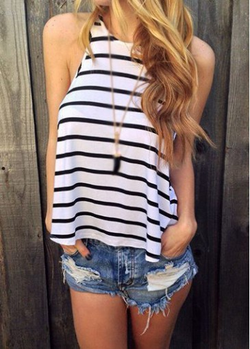 Buy online Stripe Print Round Neck White Tank Top