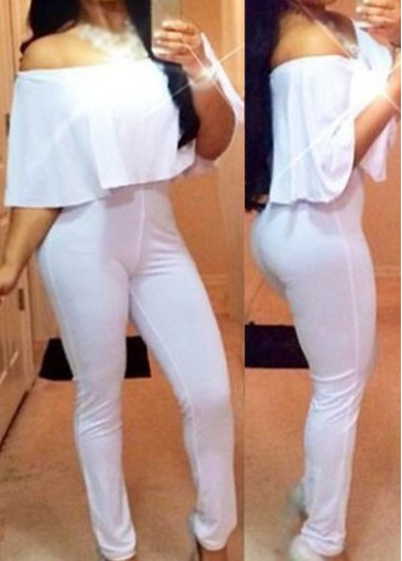 Buy online Off The Shoulder Solid White Jumpsuit