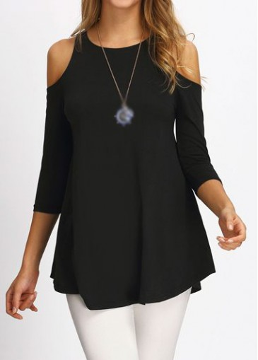 Buy online Round Neck Cold Shoulder Black Blouse