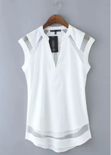 Buy online Cap Sleeve V Neck White Chiffon Blouse