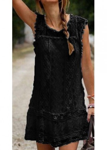 Buy online Cap Sleeve Round Neck Lace Straight Dress