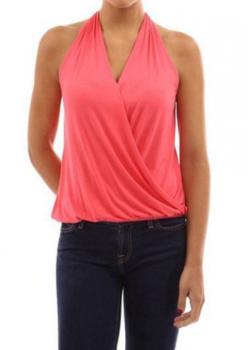 Buy online V Neck Watermelon Red Sleeveless Blouse