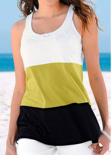 Buy online Yellow and Black Round Neck Tank Top