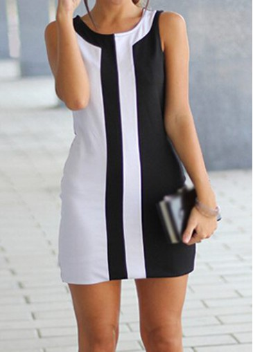 Buy online White and Black Sleeveless Round Neck Mini Dress