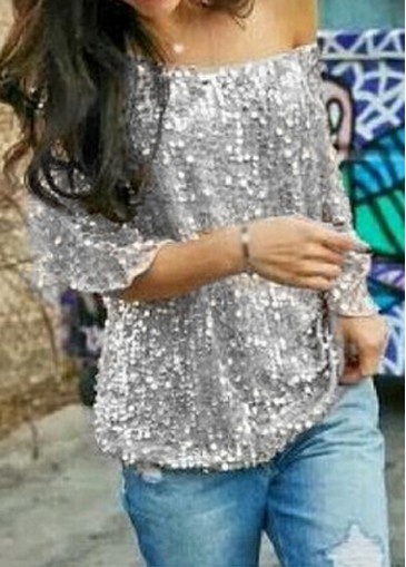Buy online Skew Neck Sequins Decorated Silver T Shirt