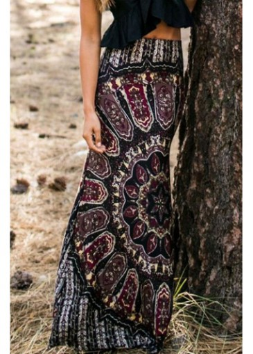 Buy online High Waist Tribal Print Black Maxi Skirt