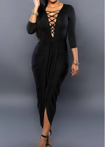Buy online Lace Up Three Quarter Sleeve Black Dress