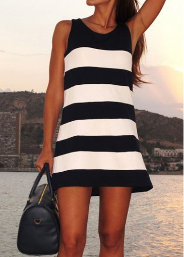 Buy online Round Neck Sleeveless White and Black Dress