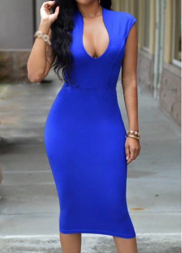Buy online Royal Blue Zipper Closure Sheath Dress