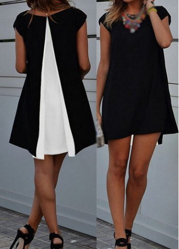 Buy online Round Neck Cap Sleeve Asymmetric Hem Straight Dress