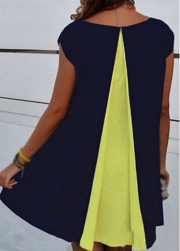 Buy online Cap Sleeve Round Neck Asymmetric Hem Straight Dress