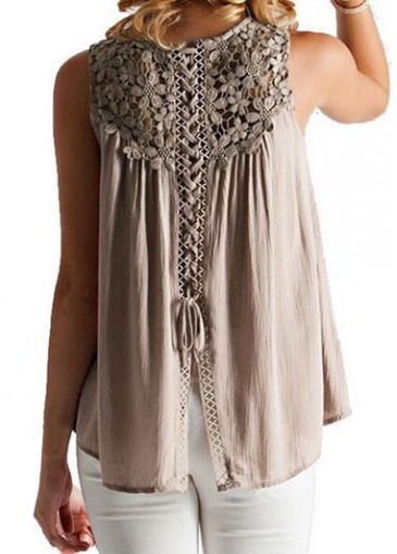 Buy online Plus Size Lace Panel Coffee Blouse