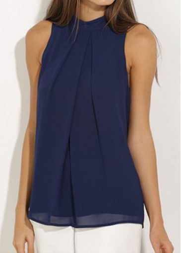 Buy online Sleeveless High Neck Navy Blue Blouse