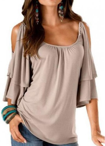 Buy online Apricot Cold Shoulder Half Sleeve T Shirt