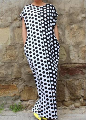 Buy online Dot Print Short Sleeve Maxi Dress