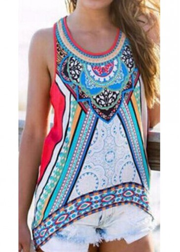 Buy online Round Neck Asymmetric Hem Printed Tank Top